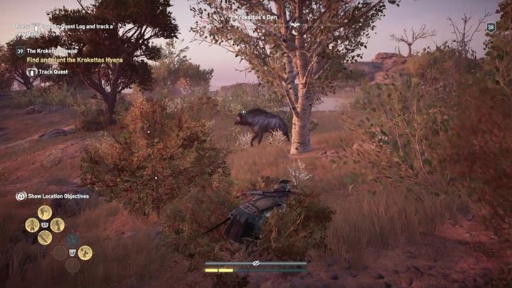 Description: This agile legendary beast likes to jump around a lot - The Krokottas Hyena (Kythera Island) - Hunting for Seven Beasts - Hunting for Seven Beasts - Assassins Creed Odyssey Guide