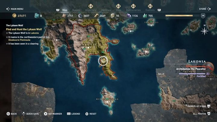 Location: Lakonia - The Lykaon Wolf (Lakonia) - Hunting for Seven Beasts in Assassins Creed Odyssey - Hunting for Seven Beasts - Assassins Creed Odyssey Guide