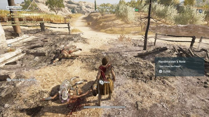 The Handmaidens Story requires you to speak with Dionas sister - Side Quests on Kythera Island in Assassins Creed Odyssey - Side Quests - Assassins Creed Odyssey Guide