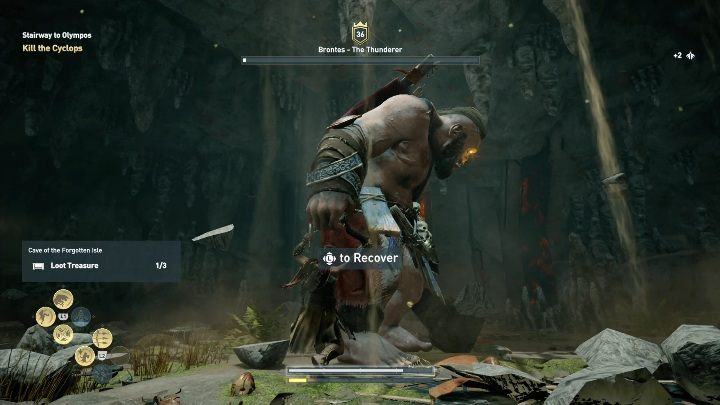 After depleting half of his health bar, the Cyclops rips out part of the wall - Side Quests on Kythera Island in Assassins Creed Odyssey - Side Quests - Assassins Creed Odyssey Guide