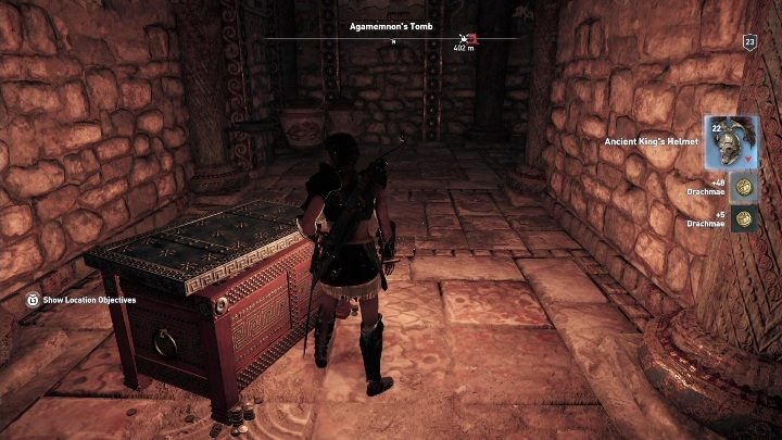 In the next room, you will find a chest that hides the Ancient Kings Helmet - Argolis - Tombs in Assassins Creed Odyssey Game - Tombs - Assassins Creed Odyssey Guide