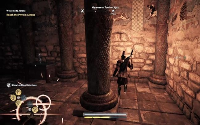 Continue forward - after you avoid the trap at the ramification, turn left - Attika - Tombs in Assassins Creed Odyssey Game - Tombs - Assassins Creed Odyssey Guide