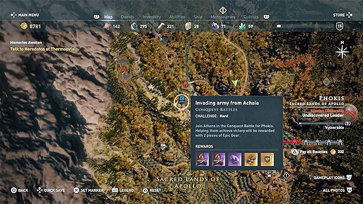 2 battle markers will appear on a regions map - Conquest in Assassins Creed Odyssey Game - Tips - Assassins Creed Odyssey Guide
