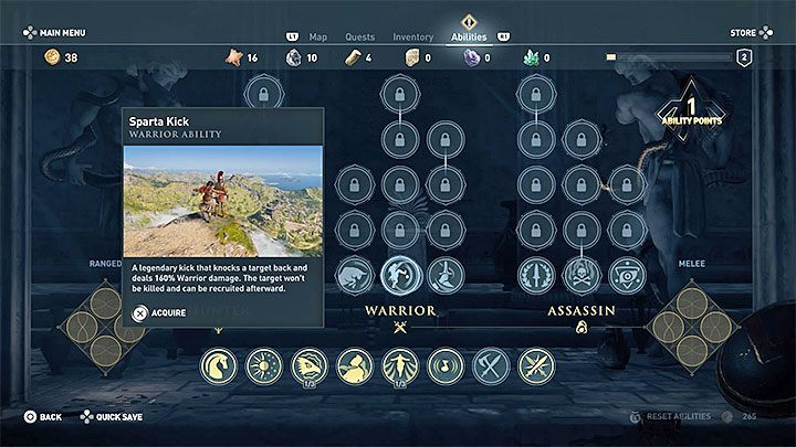 Level 2: Purchase an active ability Bull Rush that allows you to perform charges in order to weaken and knock down nearly every encountered enemy - What to spend your first ability points on in Assassins Creed Odyssey Game? - FAQ - Assassins Creed Odyssey Guide