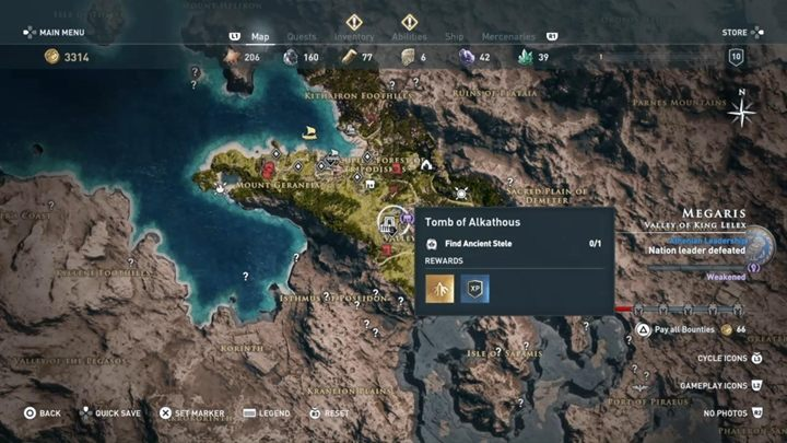 Location of the tomb: Valley of King Lelex, near the temple - Megaris - Tombs in Assassins Creed Odyssey Game - Tombs - Assassins Creed Odyssey Guide