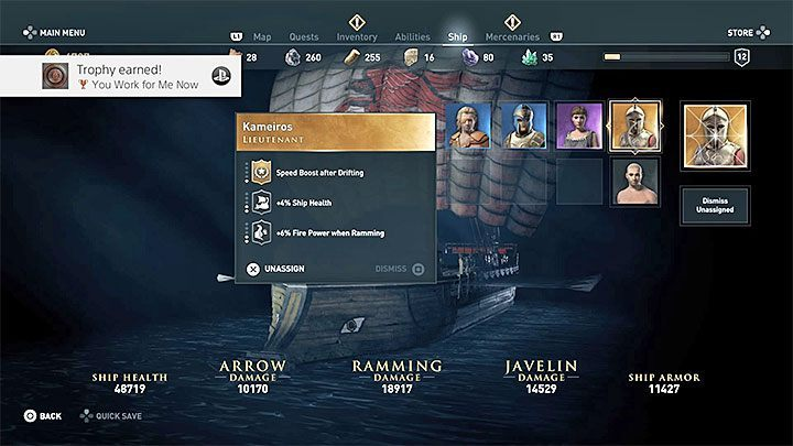 Now, you just need to go to the Ship tab and appoint the recruited gold NPC as the Lieutenant - You Work for Me Now - Assassins Creed Odyssey Trophy guide - Trophy Guide - Assassins Creed Odyssey Guide