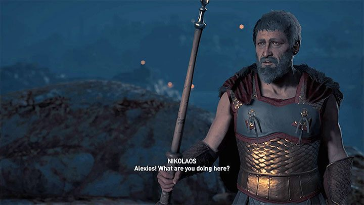 If Nikolaos did not die in the second chapter, you will notice him upon the arrival to the island - it is shown in picture 1 - Where to find Nikolaos in Assassins Creed Odyssey? - FAQ - Assassins Creed Odyssey Guide
