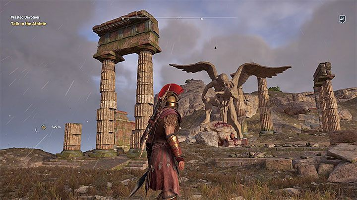 The purpose of the journey is the statue of Kronos located on a hill - Ainigmata Ostraka on Elis in Assassins Creed Odyssey - Ainigmata Ostraka - Assassins Creed Odyssey Guide