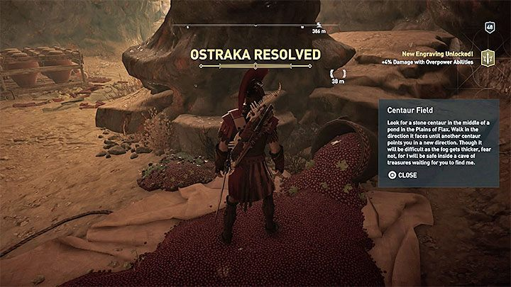 The interactive area is located inside a small cave - Ainigmata Ostraka on Elis in Assassins Creed Odyssey - Ainigmata Ostraka - Assassins Creed Odyssey Guide