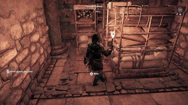 As you proceed, you will encounter a passage blocked by shelves - Petrified Islands - Tombs in Assassins Creed Odyssey - Tombs - Assassins Creed Odyssey Guide