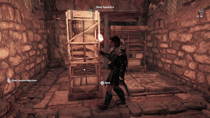 Walkthrough: Having entered the tomb, go along the path until you encounter some shelves - Petrified Islands - Tombs in Assassins Creed Odyssey - Tombs - Assassins Creed Odyssey Guide