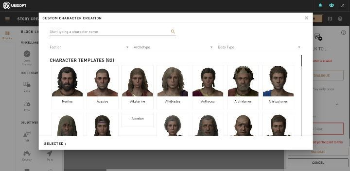 In Story Creator Mode, youll find up to 80 characters that were previously seen in Assassins Creed Odyssey - Basic information about Assassins Creed Odyssey Story Creator Mode - Story Creator Mode - Assassins Creed Odyssey Guide