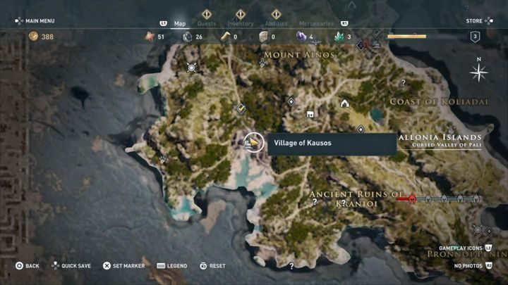 Mission start: Kausos village, after freeing the hostages - Kephallonia Islands - Side Quests in Assassins Creed Odyssey - Side Quests - Assassins Creed Odyssey Guide