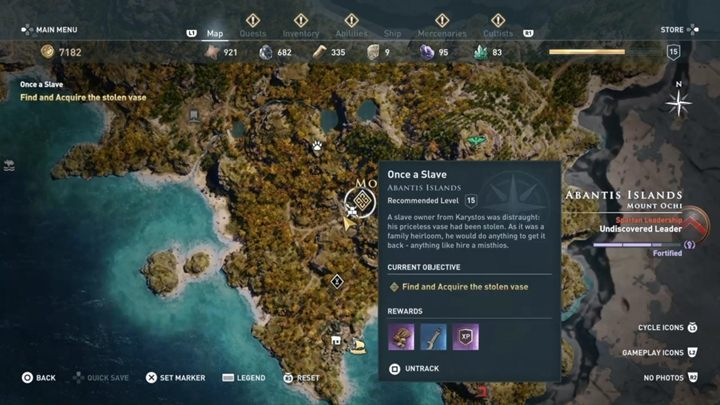 Go to the indicated place and enter the cave - Abantis Islands - Side Quests in Assassins Creed Odyssey - Side Quests - Assassins Creed Odyssey Guide