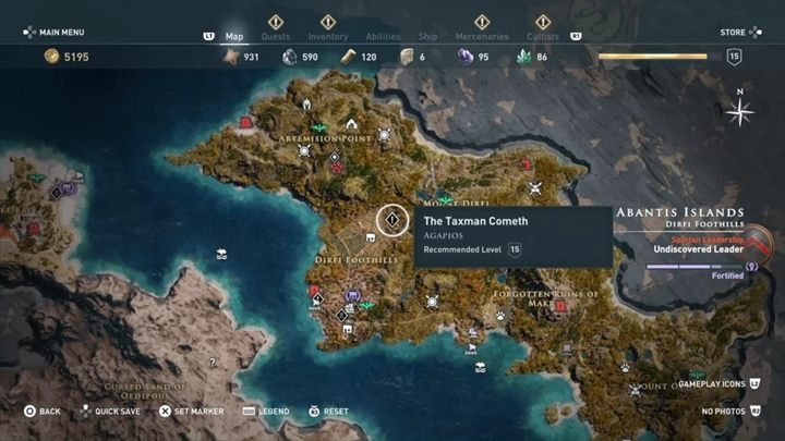 Quest starting location: Dirfi Foothills - Abantis Islands - Side Quests in Assassins Creed Odyssey - Side Quests - Assassins Creed Odyssey Guide