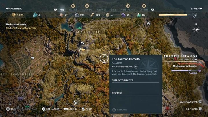 You have to go east, where you will find a destroyed cart - Abantis Islands - Side Quests in Assassins Creed Odyssey - Side Quests - Assassins Creed Odyssey Guide