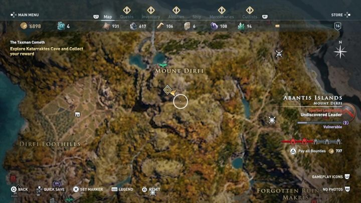 After some time, the man is thankful and he tells you where he has hidden valuable items - Abantis Islands - Side Quests in Assassins Creed Odyssey - Side Quests - Assassins Creed Odyssey Guide