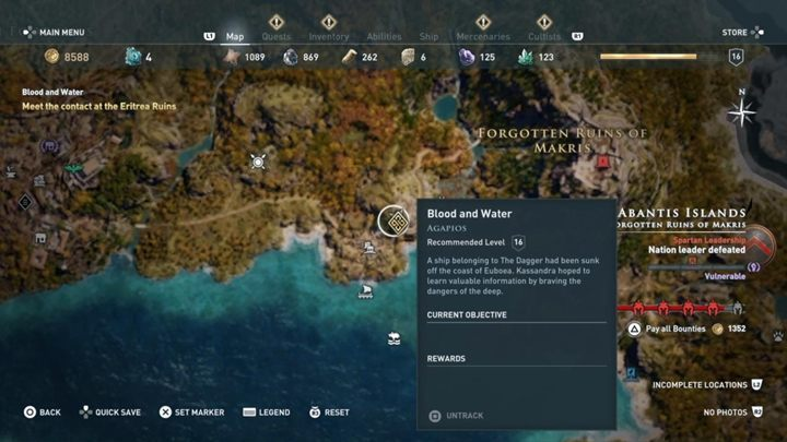 Quest starting location: Automatically unlocked - Abantis Islands - Side Quests in Assassins Creed Odyssey - Side Quests - Assassins Creed Odyssey Guide