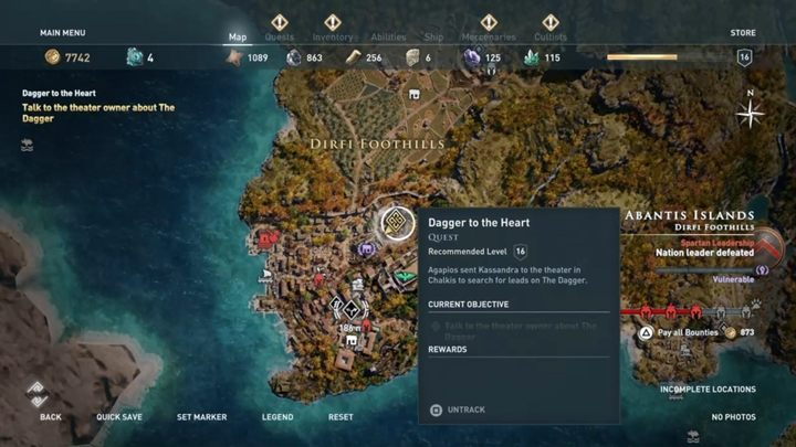 Quest starting location: Automatically activated - Abantis Islands - Side Quests in Assassins Creed Odyssey - Side Quests - Assassins Creed Odyssey Guide