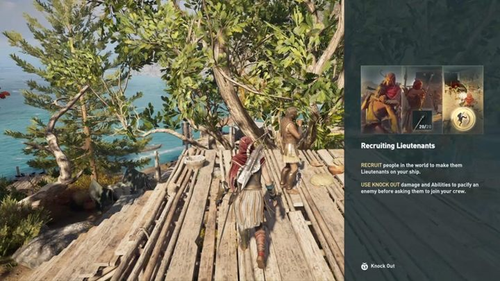 The game informs you that knocked out enemies can be recruited to your ships crew - The Wolf Hunt - Assassins Creed Odyssey Walkthrough - Main Storyline - Assassins Creed Odyssey Guide