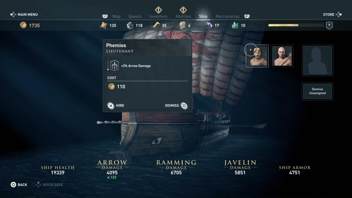 Open the ships window and assign the recruited bandit as a lieutenant - The Wolf Hunt - Assassins Creed Odyssey Walkthrough - Main Storyline - Assassins Creed Odyssey Guide