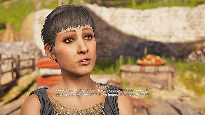 Remember to choose dialog lines with a heart icon - Odessa - Romances in Assassins Creed Odyssey - Romances - Assassins Creed Odyssey Guide