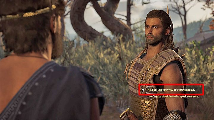 Start a conversation with Lykaon and select the dialogue option indicated in the screenshot above marked with a heart icon - Lykaon - Romances in Assassins Creed Odyssey - Romances - Assassins Creed Odyssey Guide