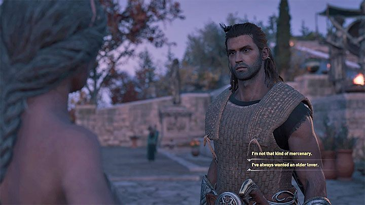 Choose the dialog option where you say that you have always wanted an older lover - Auxesia - Romances in Assassins Creed Odyssey - Romances - Assassins Creed Odyssey Guide
