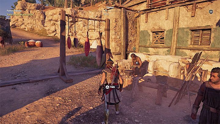 The first part of the side quest concerns the recovery of the sword and you have to meet with the blacksmith Kosta in the village - Kosta - Romances in Assassins Creed Odyssey - Romances - Assassins Creed Odyssey Guide