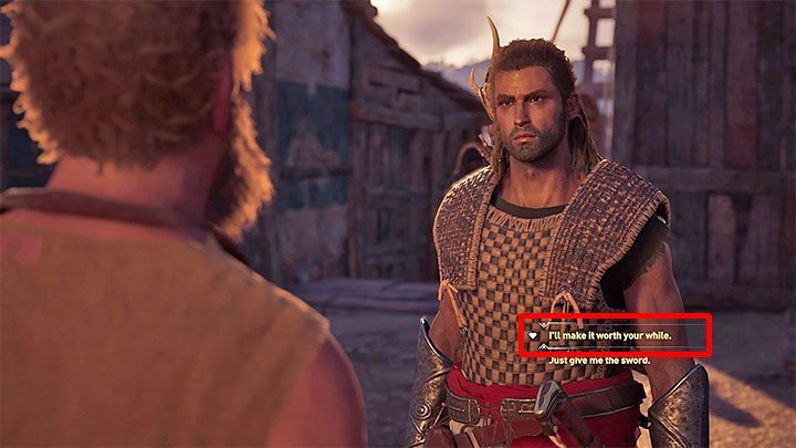During the meeting, use the opportunity to choose a dialog option marked with a heart icon (the picture above) - Kosta - Romances in Assassins Creed Odyssey - Romances - Assassins Creed Odyssey Guide
