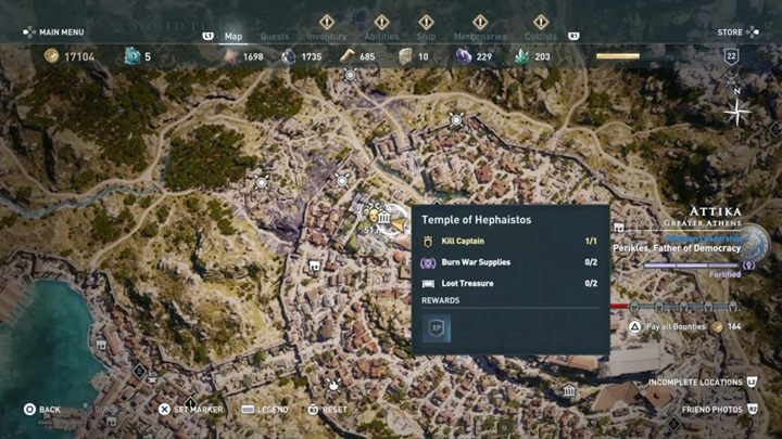 Where to find him: Attika, Temple of Hephaistos - The Eyes of Kosmos - Kosmos Cultists in Assassins Creed Odyssey - Kosmos Cultists - Assassins Creed Odyssey Guide
