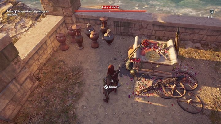 The location of this Ainigmata Ostraka: Ruins of Helike, Achaia - Ainigmata Ostraka in Achaia in Assassins Creed Odyssey - Ainigmata Ostraka - Assassins Creed Odyssey Guide
