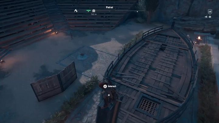 Puzzle solution: Get on the boat - check the map above to learn the boats location - Ainigmata Ostraka in Achaia in Assassins Creed Odyssey - Ainigmata Ostraka - Assassins Creed Odyssey Guide
