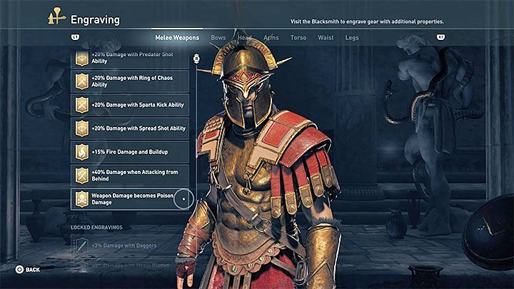 The choice of engravings should depend on the chosen weapon and legendary armor (or elements of armor) - Warrior Build in Assassins Creed Odyssey - Best builds - Assassins Creed Odyssey Guide