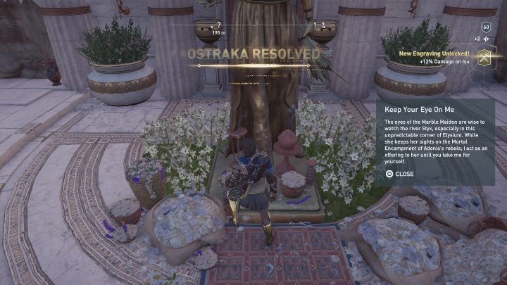 Solution to the puzzle: Found at the feet of a golden statue, west from the Mortal Encampment - Fields of Elysium | Ainigmata Ostrakas in AC Odyssey Fate of Atlantis - Ainigmata Ostraka - Assassins Creed Odyssey Guide