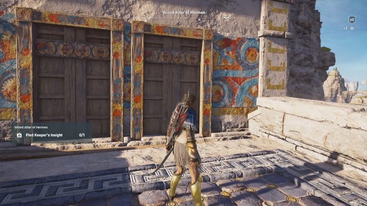 When you reach a wooden locked door, climb to the top of the building - Veiled Altar of Hermes | Perception of Hermes missions in AC Odyssey - Perception of Hermes - Assassins Creed Odyssey Guide