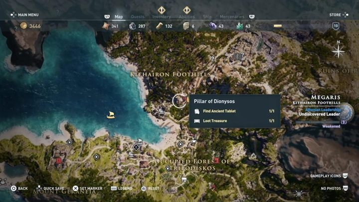 Solution: Pillar of Dionysos is north from the cave - Megaris - Ainigmata Ostraka in Assassins Creed Odyssey Game - Ainigmata Ostraka - Assassins Creed Odyssey Guide