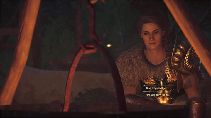 Start making the oil - light a fire, add Athenas oil and then a few rose petals - Olympic games - Assassins Creed Odyssey Walkthrough - Main Storyline - Assassins Creed Odyssey Guide