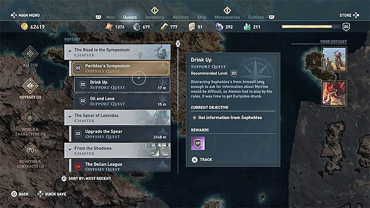 In Assassins Creed: Odyssey, all main quests can be found in Odyssey tab in your journal - Completing quest guide in Assassins Creed Odyssey - Tips - Assassins Creed Odyssey Guide