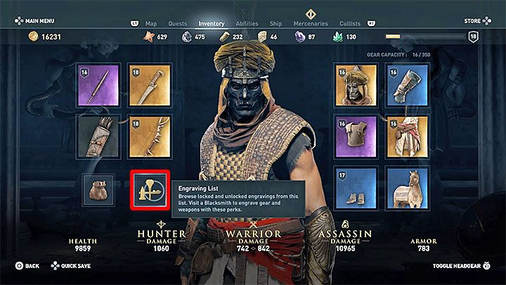 Challenges in Assassins Creed: Odyssey are associated with engravings that you can implement to weapons and armor - How you can check challenges that appear on the screen? - FAQ - Assassins Creed Odyssey Guide