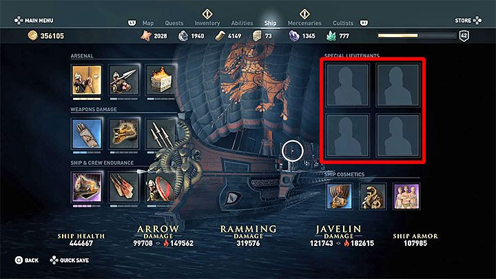 This is not all, because the game also takes into account the set-up of special lieutenants, which are placed in active slots in the main ship management menu - Wrath of the Amazons - Assassins Creed Odyssey Trophy guide - Trophy Guide - Assassins Creed Odyssey Guide