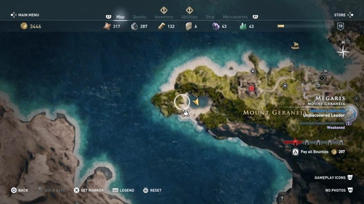 Solution: Head to the lake west from Mount Geraneia - Megaris - Side Quests in Assassins Creed Odyssey - Side Quests - Assassins Creed Odyssey Guide
