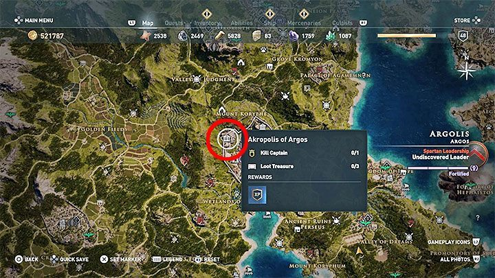 assassins creed odyssey legendary chest map