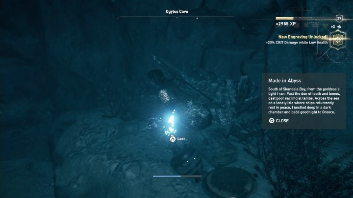 Puzzle solution: Ogylos Cave is located south of Skandeia Bay (Chytra Atoll) - Ainigmata Ostraka on Kythera Island in Assassins Creed Odyssey - Ainigmata Ostraka - Assassins Creed Odyssey Guide