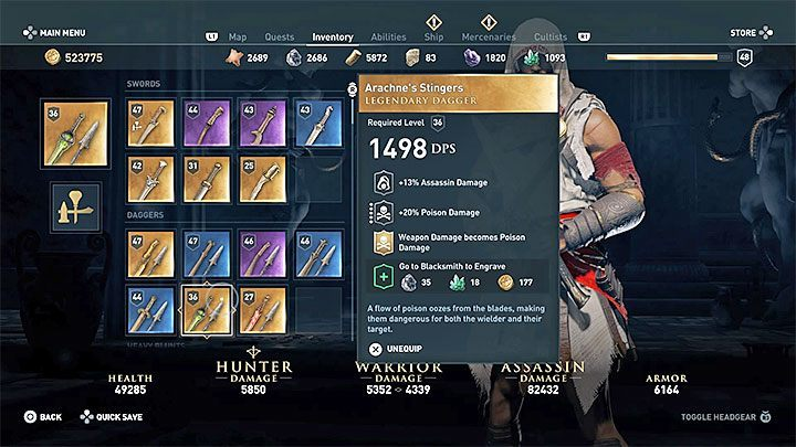 The ideal weapon for an assassin is the dagger - Passive assassin build in Assassins Creed Odyssey - Best builds - Assassins Creed Odyssey Guide
