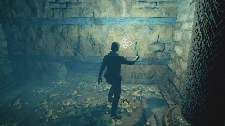 There, on the wall, youll find three white stars - Three Symbols Entombed | AC Odyssey Fate of Atlantis walkthrough - Prologue - Assassins Creed Odyssey Guide