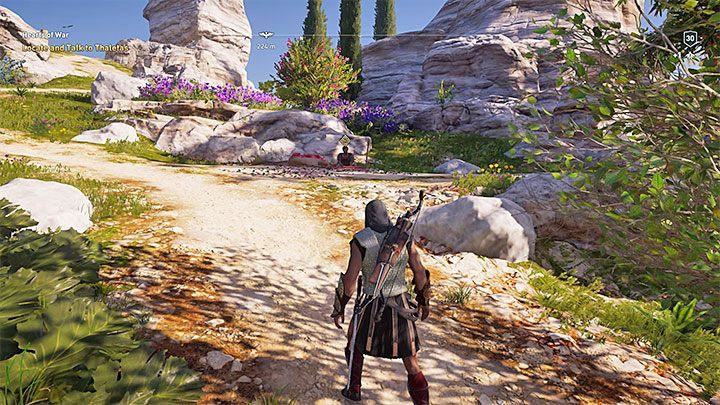 Thaletas will invite you to meet him on the beach - this is a marked section of the Delos beach - Thaletas - Romances in Assassins Creed Odyssey - Romances - Assassins Creed Odyssey Guide