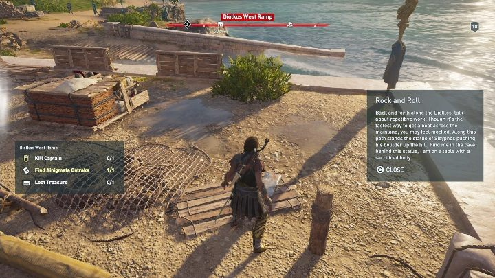 Location of Ainigmata Ostraka: Dilkos West Ramp - Korinthia - Ainigmata Ostraka in Assassins Creed Odyssey Game - Ainigmata Ostraka - Assassins Creed Odyssey Guide