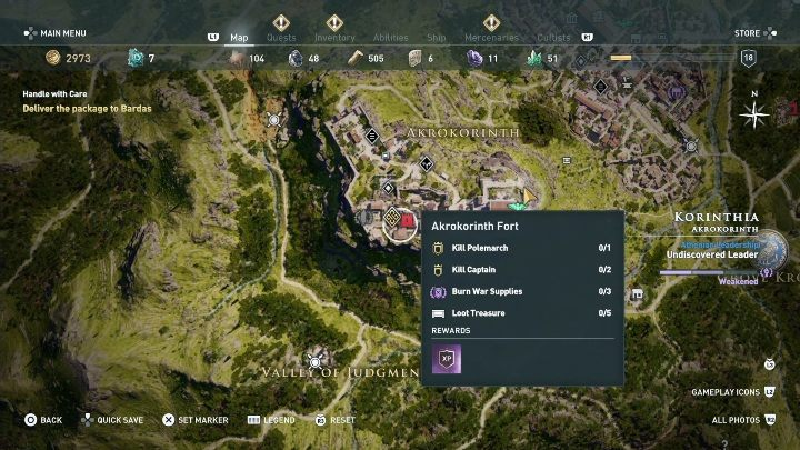 Description: Upon starting this quest go to the location shown in the screenshot above - Akrokorinth Fort - Side Quests in Korinthia in Assassins Creed Odyssey - Side Quests - Assassins Creed Odyssey Guide