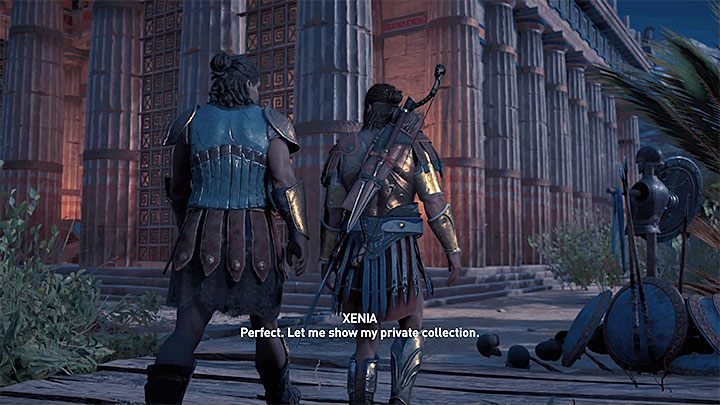 After you return with your last treasure to Xenia, once again choose the dialog option marked with a heart - Xenia - Romances in Assassins Creed Odyssey - Romances - Assassins Creed Odyssey Guide